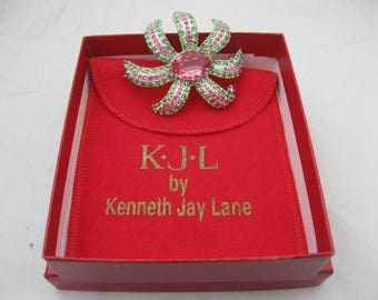 Kenneth Jay Lane KJL Green/Pink Galaxy Brooch