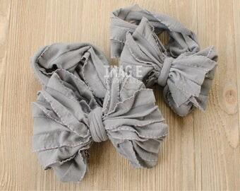 Messy Ruffle Bow Headband - Charcoal