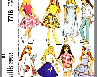 Vintage McCall's Skipper Doll's Wardrobe Fabric Material Sewing Pattern #7716