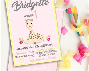 Sophie Giraffe 1st Birthday Invitation, 1st Birthday, Giraffe Invitation, Giraffe, First Birthday, Editable, Instant Download, Jungle Party