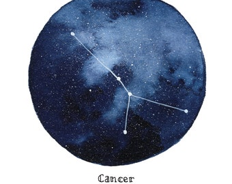 CANCER Constellation Zodiac Greeting Card Birthday Card Astronomy Stars