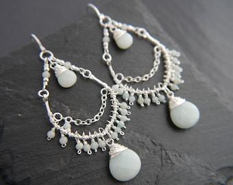 Bohemian Jewelry, Amazonite Earrings, Sterling Silver, Chandelier Earrings, Gemstone Earrings, Teardrop Earrings, Wedding, Boho, Hippie,
