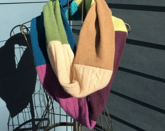 """Luxe Recycled 100% Cashmere Color Block Infinity Scarf - Green/Turquoise/Plum/Camel Patchwork - 5.5"""" x 84"""" Loop"""
