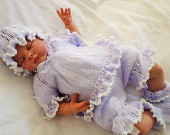 Hand knitted baby's special occasion/christening/baptism outfit consisting of angel top, bloomers, hat and bootees to fit approx 0-3 months