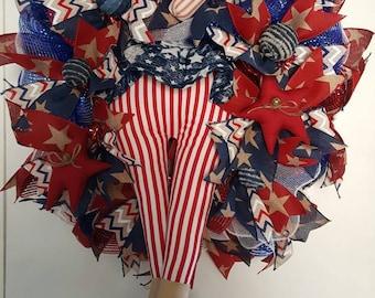 Patriotic Deco Mesh Wreath, 4th of July Wreath, Memorial Day Wreath, Labor Day Wreath, Door Decor, Patriotic Decor, Veterans Day Wreath