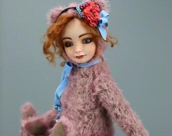"Ooak Art Teddy-Doll ""Rose"", Teddy bear, Porcelain Doll"