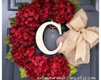 Front Door Wreath, Red Wreath, Everyday Wreath, Red Hydrangea Wreath with burlal