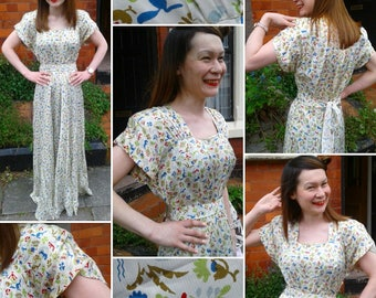Very Rare and Highly Collectable 'IIOII' Double Elevens 1940s Novelty Print Gown by Kitty Copeland!