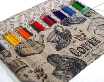 Adult Coloring Cafe pencil case, Coffee Lover