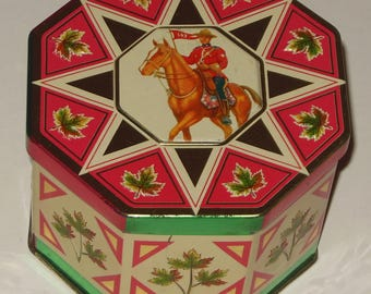 Vintage Collectors Tin Red Green White Canadian Mountie Mounted Police Canada Maple Leaf Octagonal with Cover