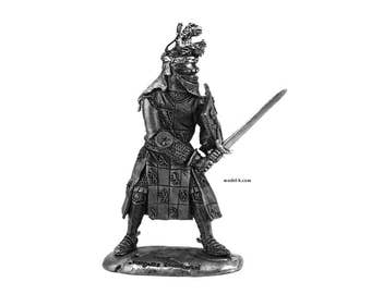 54mm Soldier Jacques Louchard. French Knight 1350yr. 1:32 Scale Figure
