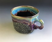 Large Coffee Mug with Handle, Cappuccino Cup, Purple Glazed Porcelain Cup or Soup Bowl, OOAK One of a Kind.  3 In. tall, 12 oz, Food Safe.