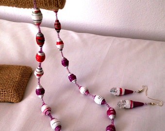 Pink&White paper-bead Necklace with Earrings. Eco friendly.