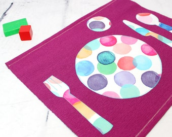 Kids placemat back to school fabric place mats setting for Sets de table tissu