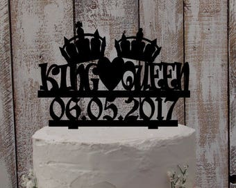 "wedding cake topper ""king and queen"" -- wedding, cake, topper, personalized"