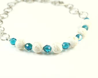 Ice Storm polymer clay and Czech crystal turquoise and white necklace (available in multiple colours)