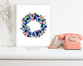 Hand-painted Watercolor Print - Sapphire Sprigs: A Bright Floral Print with Modern Watercolor Florals