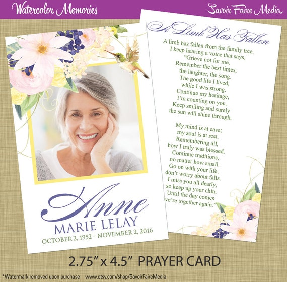 funeral memorial prayer card or bookmark printable. Black Bedroom Furniture Sets. Home Design Ideas