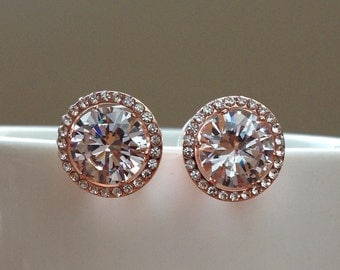 Large Rose gold round cubic zirconia bridal stud earrings