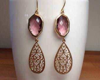 Gold and purple crystal connector and teardrop filigree charm earrings