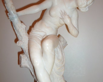 Antique large marble Art Deco nude lady figural lamp circa 1920