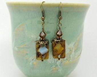 Brown Bohemia earrings, Boho earrings, brown Swarovski earrings, Brown Czech earrings, Brown Bohemia earrings, brown boho earrings