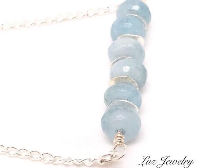 Aquamarine Pendant, Aquamarine Silver Necklace, Aquamarine Bar Necklace, Aquamarine Necklace, Aquamarine Jewelry Raw aquamarine