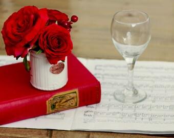 Rose Sugar Jar Valentine Day decor Faux Rose arrangement