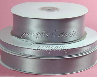 7/8 inch x 100 yards of Silver Double Face Satin Ribbon - shines on both sides