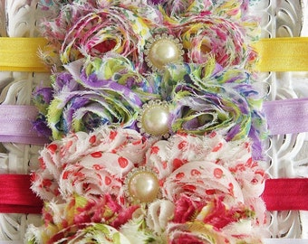 Flowery Summer Girl Baby Rhinenstone Elastic Headband Hair Band Shabby Flower