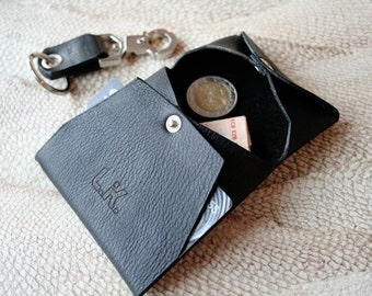 NEW!  Genuine Leather Change purse Credit Card Wallet Black Noir