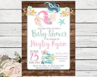 Mermaid Baby Shower Invite Wooden Background***Digital File***  (Baby-Mermaidwood)