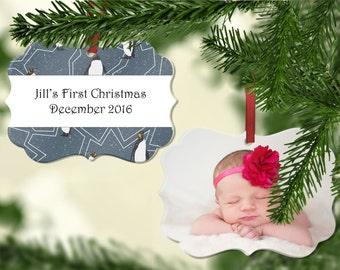 Personalized Photo Christmas Ornament - Wedding Ornament, First Christmas Ornament, Custom Photo Ornament, Wedding Ornament - Penguins