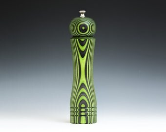 """Colorful, Handmade 10"""" Peppermill - Laminated , bright green and black"""