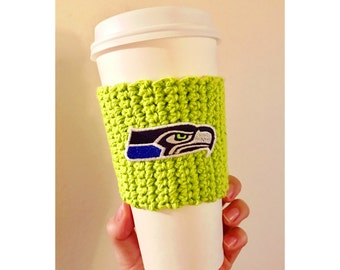 Seahawks Green Coffee Cozy // Seahawks Coffee Cozy // Seattle Seahawks // Knitted Coffee Cozy