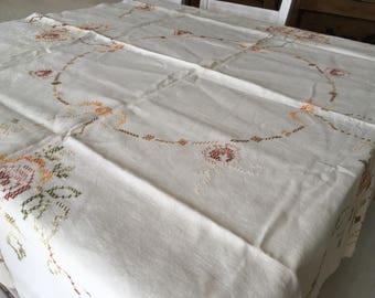 Antique embroidered table cloth Foral table cloth Square roses table cloth Shabby cottage chic table cloth