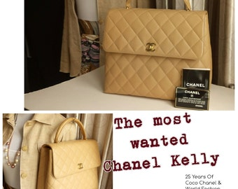 Rare! Free Ship Chanel Most stylish, most wanted CHANEL beige Kelly handbag caviar leather pristine condition Smart investment