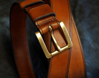 Leather Double Layer Belt - Almond
