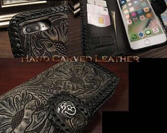 Leather iPhone 7 Plus Flip Case Black & Concho K01E16