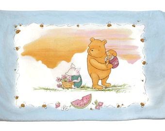 Vintage Disney Classic Pooh & Piglet Standard Pillowcase Hunny Pot Picnic Theme Pillow Case or Craft Fabric 100% Cotton