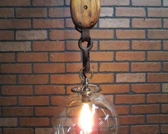 """Vintage Industrial Light Pulley Pendant Ceiling Light with 10"""" Hand Blown Glass Ball Shade 45"""" Long"""