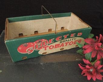 Old Box Vegetable Tomato Carrier - Shabby Kitchen Decor - Cardboard Market Carton Farmhouse - Photo Shoot vintage