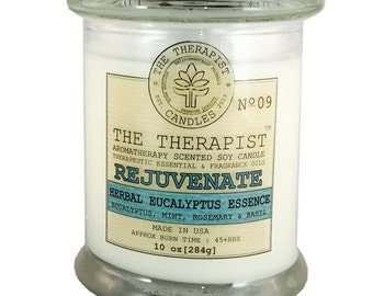 Scented Soy Candle < No. 09 Herbal Eucalyptus Essence >- Hand Poured - Highly Fragrant - 10 oz