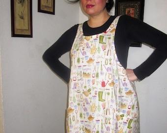 Wraparound Apron, Garden Print apron, Apron, Wrap Apron