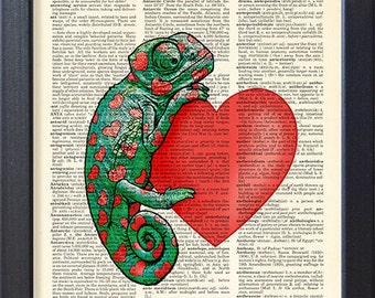 Chameleon art, heart, Love print, DICTIONARY Print, funny poster, Dictionary Pages, Gift for lovers, Home Wall Decor, CODE/007