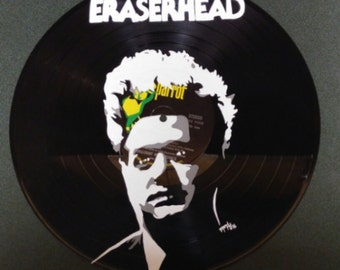 hand painted eraser head hand painted vinyl record