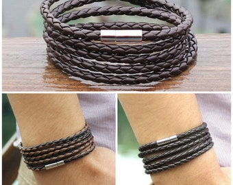 Wrap and Snap Bracelet, Hard-Wearing Plaited Leather, Wrist or Ankle Bracelet,  5 Times Wrap and Snap, 3 Colors BST-120