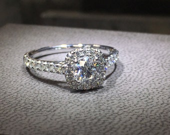 0.5 Carat Halo Ring, Cushion Halo Diamond Ring, Diamond Engagement Ring, 14k White Gold Ring, Diamond Gold Ring Free Shipping