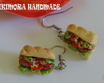 Polymer clay sandwich earrings, Sandwich earrings, mini food jewelry, kawaii jewelry, Sub earrings