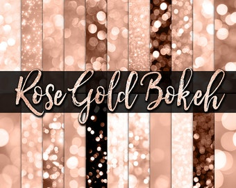 Rose Gold Bokeh Digital Paper -  gold bokeh, gold glitter, bokeh backgrounds, rose gold digital paper, bokeh backdrop, potography overlays